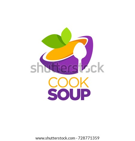 Cook Soup, vector logo template with image of cartoon bowl, spoon silhouette and green leaves