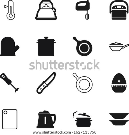 cook vector icon set such as: icons, temperature, old, chop, wood, timer, science, instrument, egg, clock, glove, boil, blender, heat, protection, warm, time, control, cartoon, retro, dish, baking Сток-фото ©