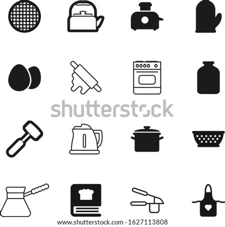 cook vector icon set such as: traditional, barbecue, spoon, vegetable, electrical, power, mason, mitt, saucepan, thermal, holder, bird, kitchenware, jars, glass, clothing, tasty, cookbook, baking