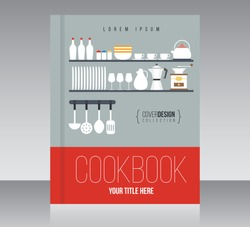 Cookbook cover design vector template, minimal style