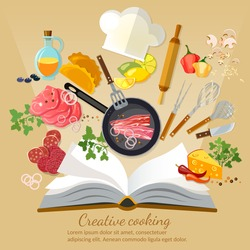 Cookbook creative cooking flat style vector illustration