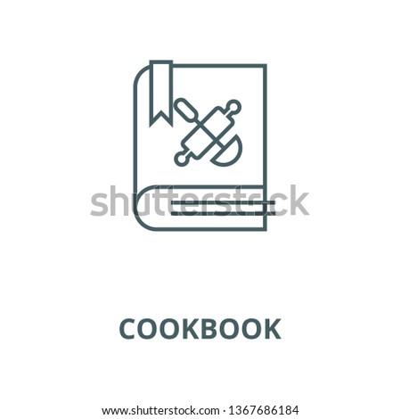 Cookbook, recipe book line icon, vector. Cookbook, recipe book outline sign, concept symbol, flat illustration