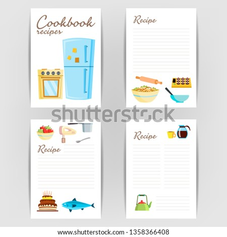 Cookbook Vector. Recipe Kitchen Cookbook Card Page. Blank For Text. Flat Illustration