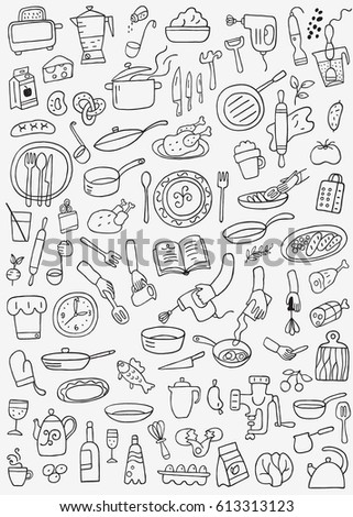 Royalty Free Food Doodles Collection 161555951 Stock Photo Avopixcom