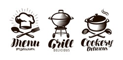 Cookery, grill, menu logo or label. Food concept. Lettering vector illustration