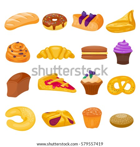 cookie cakes isolated vector set