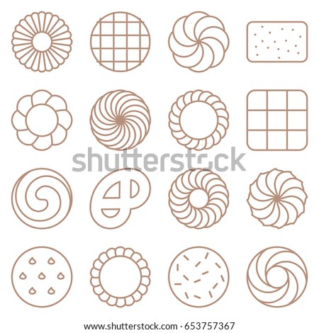 cookie, cracker and biscuit outline icon set 1