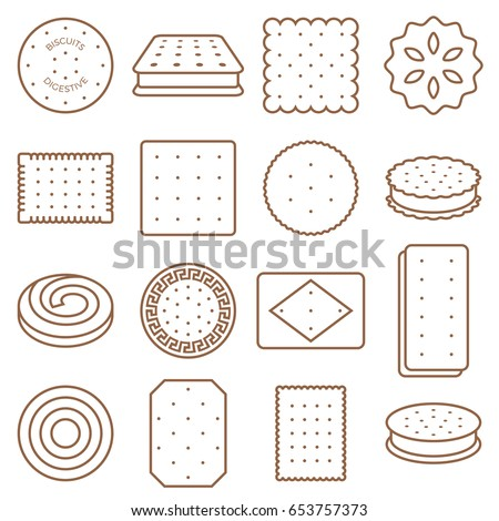 cookie, cracker and biscuit outline icon set 2