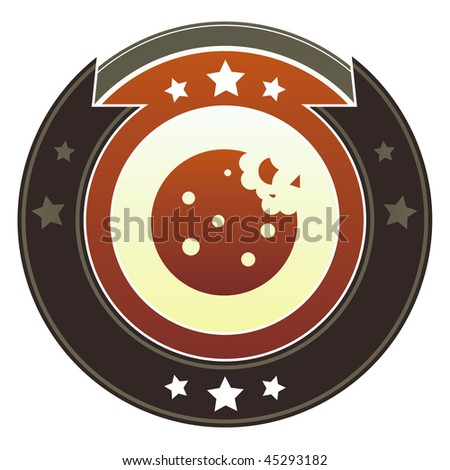 Cookie, dessert, or food icon on round red and brown imperial vector button with star accents