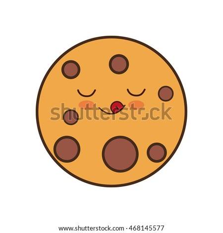 cookie kawaii breakfast food menu icon. Isolated and flat vecctor illustration