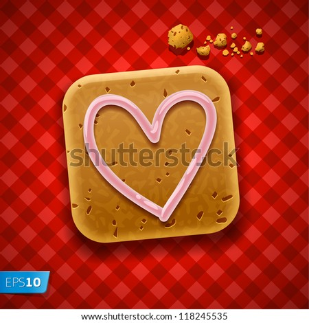 Cookie on red tablecloth, vector Eps10 illustration