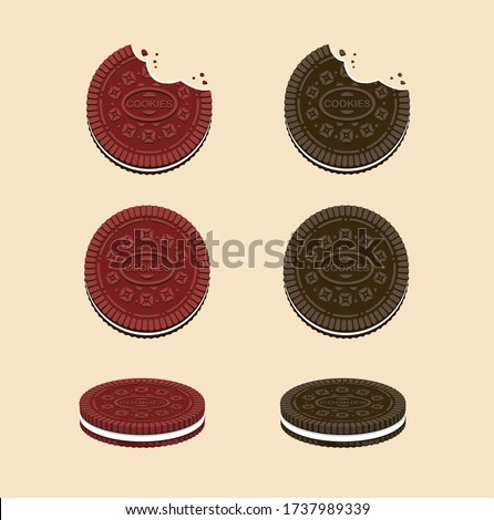 Cookies sandwich cream in Chocolate and Red Velvet flavour. snack collection icon set in cartoon flat illustration vector