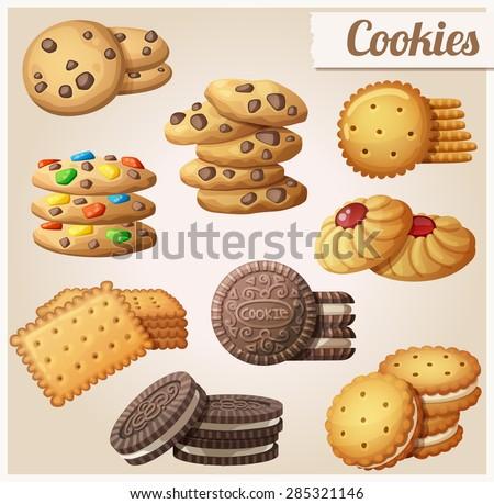 Shutterstock Cookies. Set of cartoon vector food icons.