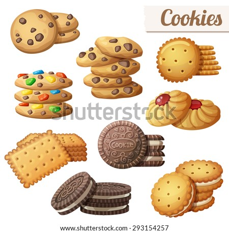 cookies set of cartoon vector
