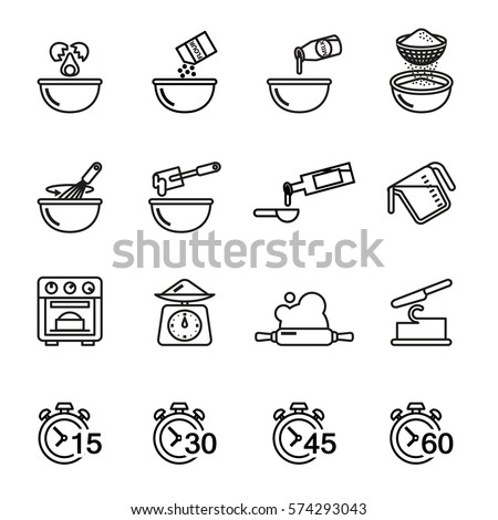 Cooking and baking icon set for you kitchen, restaurant or menu. Line Style stock vector.