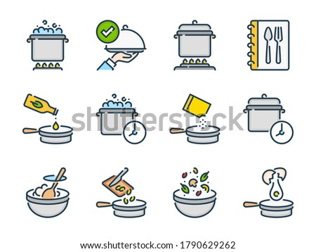 Cooking and Boiling related vector color line icon set. Meal Cooking and Kitchen Equipment colorful outline icons. Food and Kitchen Utensils icon collection.