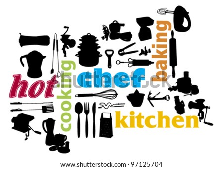 cooking and kitchen appliances silhouette