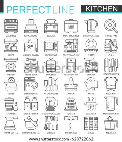 Cooking and kitchen outline concept symbols. Perfect thin line icons. Modern linear stroke style illustrations set.