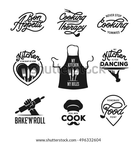 Cooking and kitchen related quotes set. Poster design elements. Bon appetit. Cooking therapy. Real men cook. My kitchen my rules. Never stop cooking. Vintage vector illustration.
