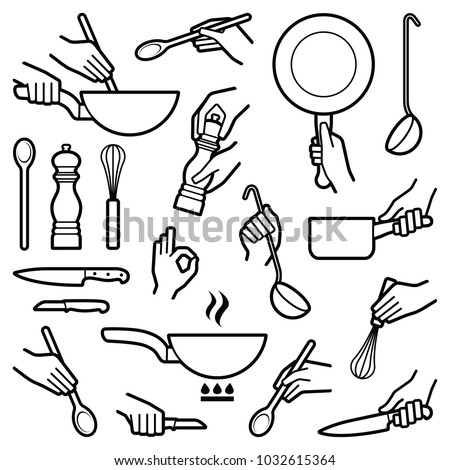 Cooking and kitchen tool with hand icon collection - vector outline illustration