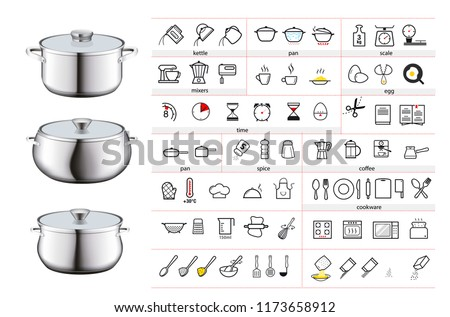 Cooking and preparation instructions. Set for detailed guideline. Vector illustrations on a white background. Ready for your design. EPS10.