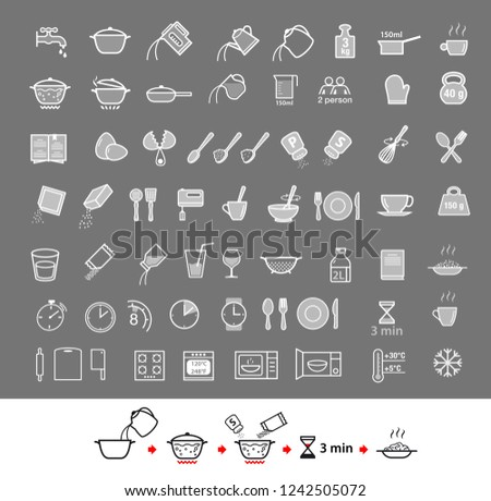 Cooking and preparation instructions. Set of sign for detailed guideline. Vector elements on a gray background. Ready for your design. EPS10.