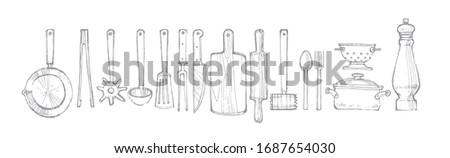 cooking appliances, sloppy freehand drawing in vector fotmat, cooking tools