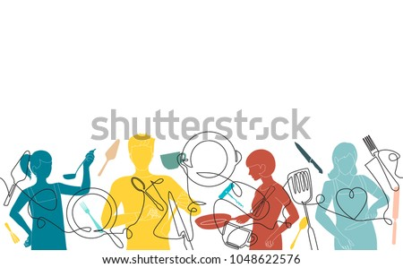 Cooking Background. Pattern with  people who cook and utensils. Vector illustration.