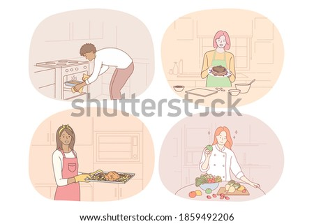 Cooking, baking, recipe, chef, cook, food concept. Young people men and women cooking food at home, baking, making healthy dishes and enjoying time in kitchen vector illustration. Gourmet, homemade