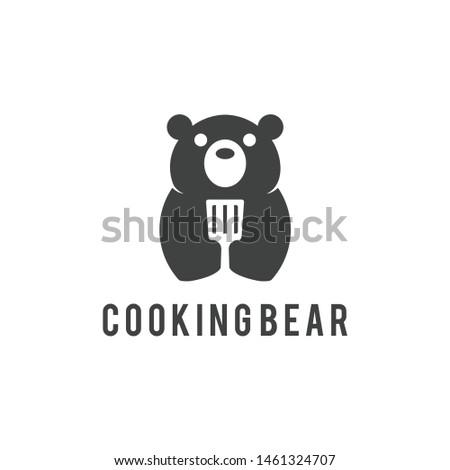 cooking bear logo vector