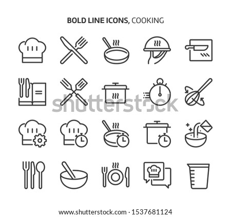 Cooking bold line icon set. The set is about restaurant, cook, recipe, kitchen, bakery, meal, vector, editable stroke, line, outline.