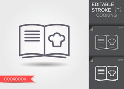 Cooking book. Outline icon with editable stroke. Linear symbol of the kitchen and cooking with shadow