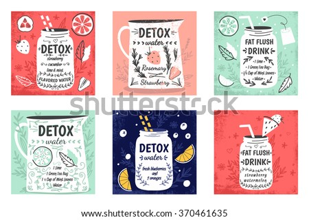 Cooking cards, notes, stickers, labels, tags with cute decorative illustrations. Detox water and drinks. Detox and healthy life. Cute collection of vector illustrations and detox print.