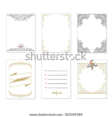 Cooking cards, notes, stickers, labels, tags with cute decorative illustrations. Template for scrapbooking, wrapping, notebooks, notebook, diary, decals. Party and wedding printable cards.