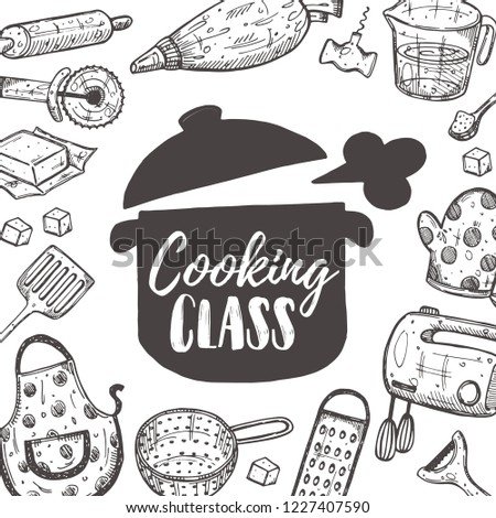 Cooking class. Culiary courses concept design. Hand drawn vector illustration. Can be used for badges, labels, logo, bakery, street festival, country fair, shop, kitchen classes, cafe, food studio.