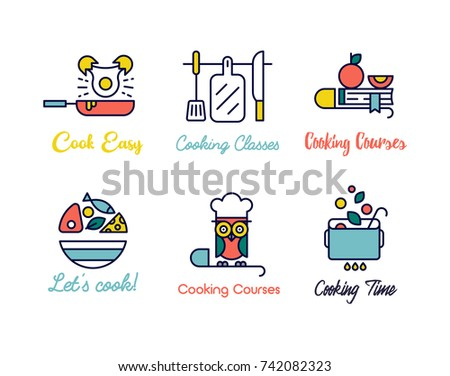 Cooking class linear design logos. Cooking schools labels for prints, wall decoration, cars, posters, apps.