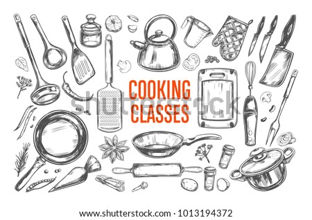 Cooking classes and Kitchen utensil set. Vector hand drawn isolated objects. Icons in sketch style Stockfoto ©