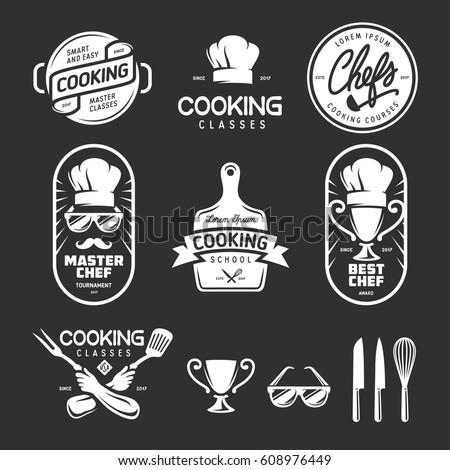 Cooking classes labels badges emblems logos set. Design elements for prints, posters, wall decor. Vector vintage illustration.