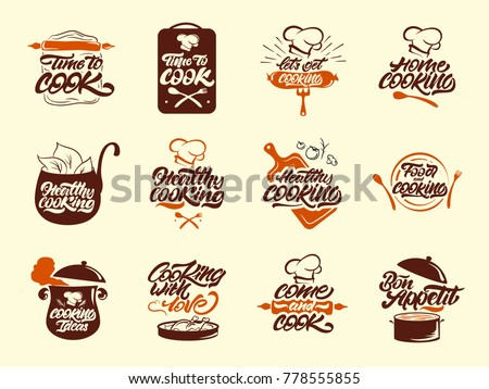 Cooking colour logos set. Healthy cooking. Bon appetit. Cooking idea.  Cook, chef, kitchen utensils icon or logo. Handwritten lettering vector illustration.
