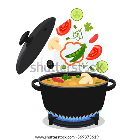 cooking concept. On the stove, boil the soup. flat vector illustration isolate on a white background