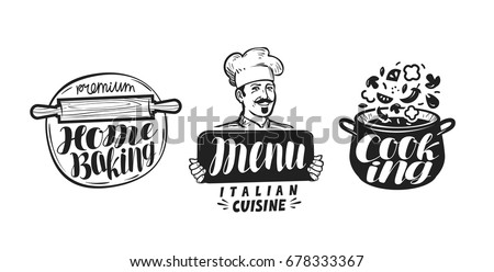 Cooking, cuisine logo. Icon and label for design menu restaurant or cafe. Handwritten lettering, calligraphy vector illustration