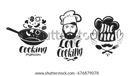 Cooking, cuisine logo. Label set for design menu restaurant or cafe. Handwritten lettering, calligraphy vector illustration