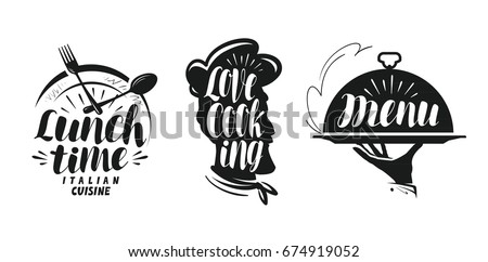 Cooking, cuisine logo. Set icons and symbols for design menu restaurant or cafe. Lettering, calligraphy vector illustration