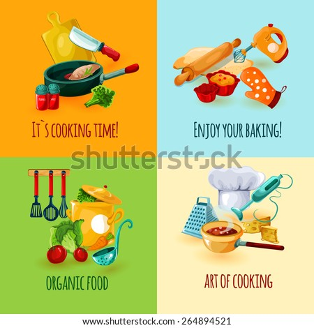 cooking design concept set with