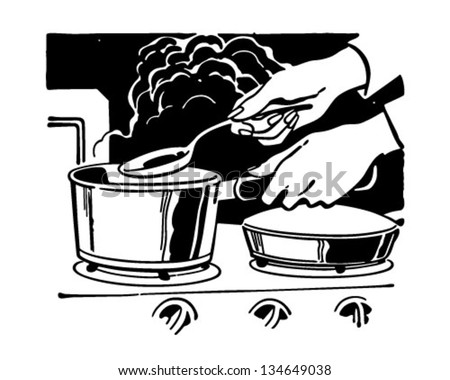 Cooking Dinner - Retro Clip Art Illustration
