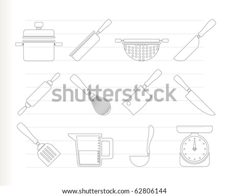 Cooking Equipment And Tools Icons - Vector Icon Set - 62806144
