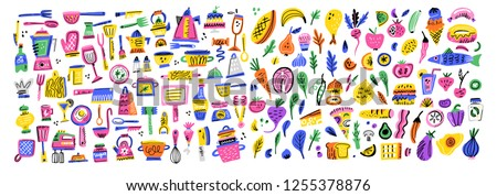 Cooking flat hand drawn illustrations set. Kitchen utensil and appliance design elements. Food preparation color cliparts. Ingredients. Sketch kitchenware. Isolated scandinavian cartoon kitchen items