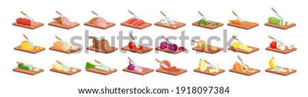 Cooking food process isometric vector illustration. Cartoon 3d knife processing fresh meat or fish, bread, ripe vegetables and fruits into slices on wooden cutting board, cook menu isolated on white