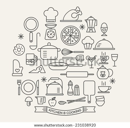 Cooking Foods and Kitchen outline icons set - Shutterstock ID 231038920