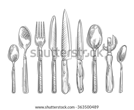 cooking hand drawn set of